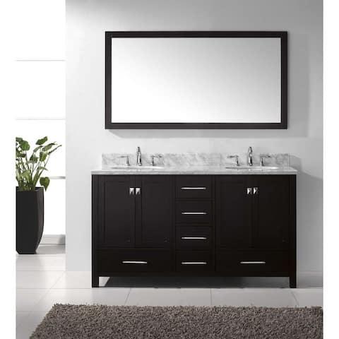 Virtu USA Caroline Avenue 60-inch Double White Marble Bathroom Vanity Set with Faucet Options