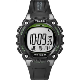 Timex Men's TW5M034009J Ironman Classic 100 Full-size Black/Green Resin Strap Watch