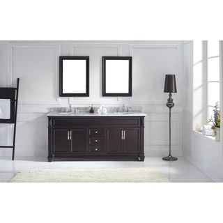 Victoria 72-inch Double Vanity White Marble Top Round Sinks Faucets