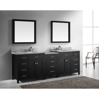 Virtu USA Caroline Parkway 93-inch Square Double Bathroom Vanity Set with Faucets