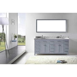 Virtu USA Caroline Parkway 72-inch Grey Double Bathroom Vanity Set with White Marble Top