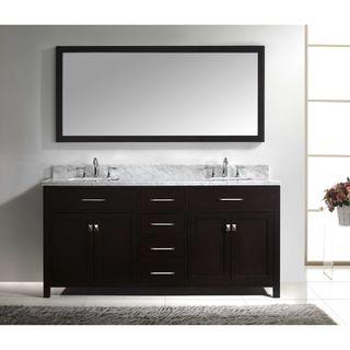 Virtu USA Caroline 72-inch Square Double Bathroom Vanity Set Faucets