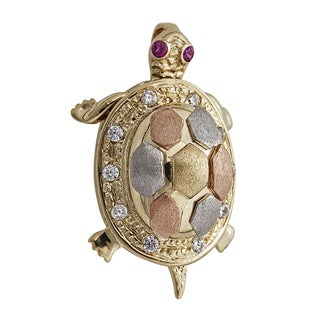 14-karat Tri-color Gold Turtle Motion Pendant With Removable Shell