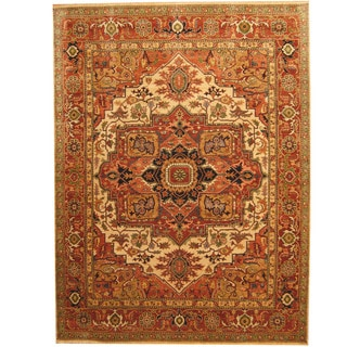 Herat Oriental Indo Hand-knotted Tribal Serapi Beige/ Rust Wool Rug (8'9 x 11'8)