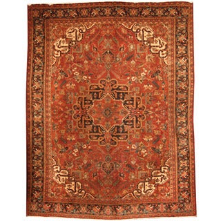Herat Oriental Persian Hand-knotted 1940s Semi-antique Heriz Rust/ Navy Wool Rug (9'10 x 12'8)