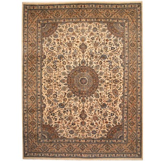 Herat Oriental Persian Hand-knotted 1960s Semi-antique Mashad Ivory/ Khaki Wool Rug (9'9 x 12'8)