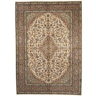 Herat Oriental Persian Hand-knotted 1960s Semi-antique Kashan Ivory/ Khaki Wool Rug (9'6 x 13'7)