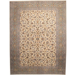 Herat Oriental Persian Hand-knotted 1940s Semi-antique Kashan Beige/ Light Blue Wool Rug (10' x 12'10)