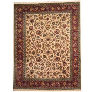 Herat Oriental Persian Hand-knotted 1950s Semi-antique Tabriz Beige/ Red Wool Rug (9'7 x 12'7)