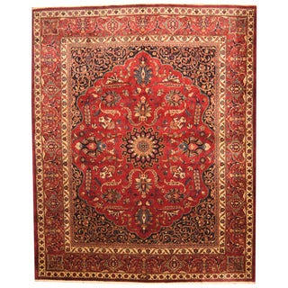 Herat Oriental Persian Hand-knotted 1940s Semi-antique Mashad Burgundy/ Navy Wool Rug (10'8 x 13'2)