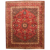 Herat Oriental Persian Hand-knotted 1940s Semi-antique Mashad Burgundy/ Navy Wool Rug - 10'8 x 13'2