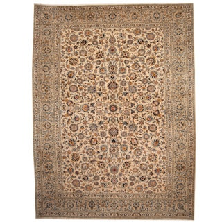 Herat Oriental Persian Hand-knotted 1960s Semi-antique Kashan Ivory/ Beige Wool Rug (10'1 x 13'4)
