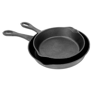 Bayou Classic Black Cast Iron 8-inch/10-inch Skillets (Set of 2)
