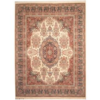 Herat Oriental Pakistani Hand-knotted Tabriz Beige/ Navy Wool Rug (9'10 x 13')