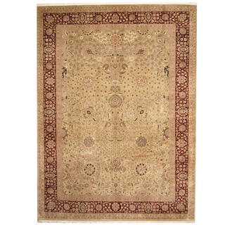 Herat Oriental Pakistani Hand-knotted Tabriz Light Green/ Red Wool Rug (10'4 x 13'10)