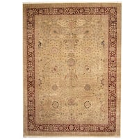 Handmade Herat Oriental Pakistani Tabriz Light Green/ Red Wool Rug  - 10'4 x 13'10 (Pakistan)