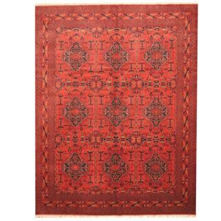 Herat Oriental Afghan Hand Knotted Tribal Khal Mohammadi Burgundy/ Black  Wool Rug (10