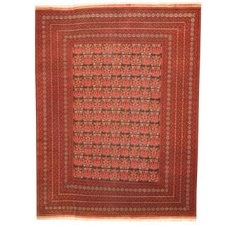 Herat Oriental Afghan Hand-knotted Tribal Turkoman Black/ Burgundy Wool Rug (9'10 x 12'10)