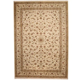 Herat Oriental Indo Hand-knotted Tabriz Ivory/ Olive Wool & Silk Rug (10' x 14'5)