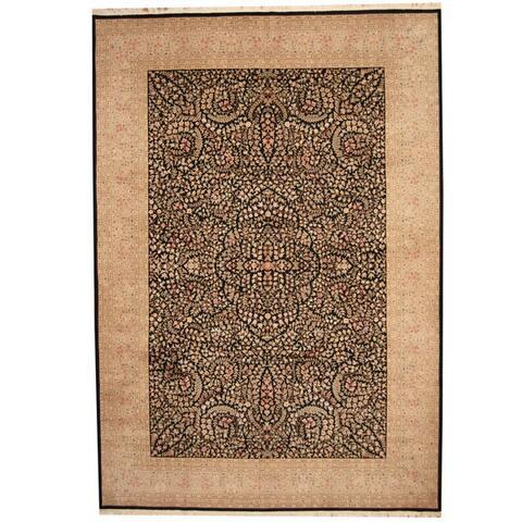 Handmade One-of-a-Kind Kerman Wool and Silk Rug (India) - 10' x 14'