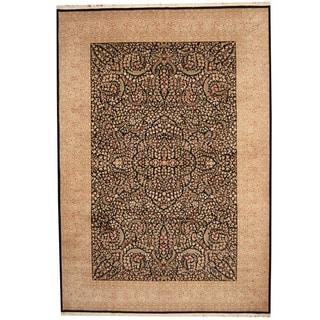 Herat Oriental Indo Hand-knotted Kerman Black/ Lavender Wool & Silk Rug (10' x 14')