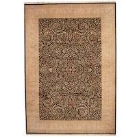 Handmade Herat Oriental Indo Kerman Black/ Lavender Wool & Silk Rug  - 10' x 14' (India)