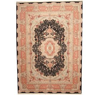 Herat Oriental Indo Hand-knotted Tabriz Black/ Pink Wool & Silk Rug (10' x 14')
