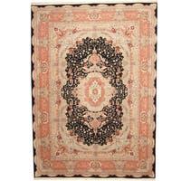 Herat Oriental Indo Hand-knotted Tabriz Black/ Pink Wool & Silk Rug - 10' x 14'