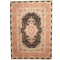 Handmade Herat Oriental Indo Tabriz Black/ Pink Wool & Silk Rug  - 10' x 14' (India)