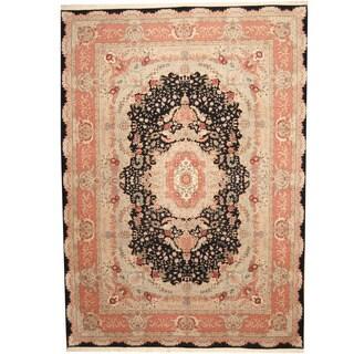 Herat Oriental Indo Hand-knotted Tabriz Black/ Pink Wool & Silk Rug (10' x 14') - 10' x 14'