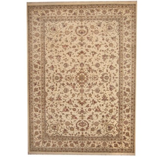 Herat Oriental Indo Hand-knotted Tabriz Ivory/ Olive Wool & Silk Rug (10' x 14')