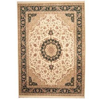 Herat Oriental Indo Hand-knotted Tabriz Ivory/ Green Wool & Silk Rug (10' x 14'5)