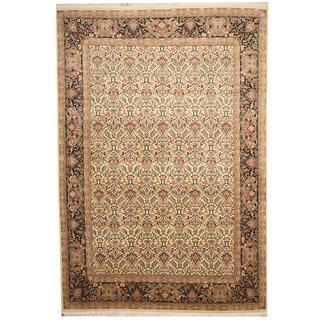 Herat Oriental Pakistani Hand-knotted Tabriz Beige/ Black Wool Rug (10' x 14')