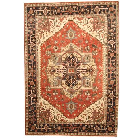 Handmade Herat Oriental Indo Tribal Serapi Rust/ Charcoal Wool Rug - 10' x 14' (India)