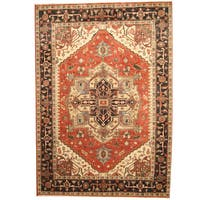 Herat Oriental Indo Hand-knotted Tribal Serapi Rust/ Charcoal Wool Rug - 10' x 14'