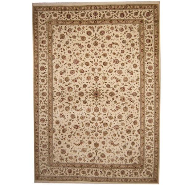 Indo Persian Tabriz Wool Area Rug: Shop Handmade Herat Oriental Indo Tabriz Ivory/ Light