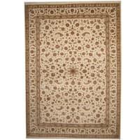 Handmade Herat Oriental Indo Tabriz Ivory/ Light Green Wool & Silk Rug  - 10' x 14' (India)