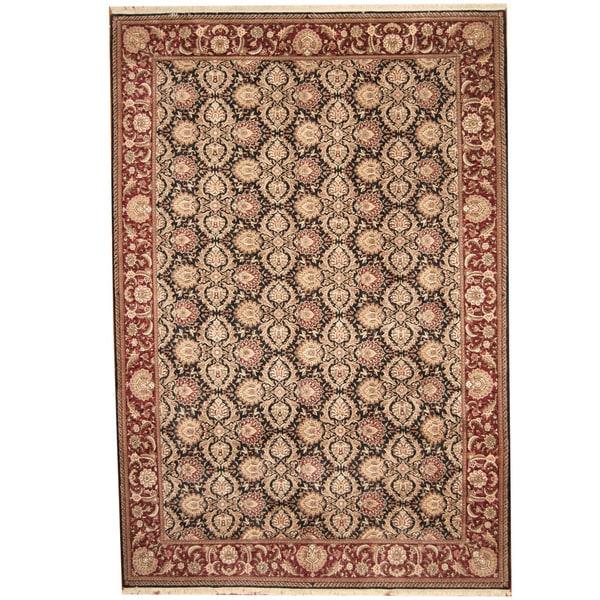 Indo Persian Tabriz Wool Area Rug: Shop Handmade Herat Oriental Indo Tabriz Navy/ Burgundy