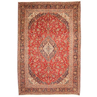 Herat Oriental Persian Hand-knotted 1970s Semi-antique Kashan Red/ Navy Wool Rug (9'5 x 13'9)