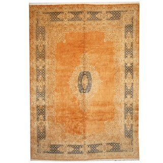 Herat Oriental Persian Hand-knotted 1960s Semi-antique Kerman Orange/ Navy Wool Rug (9'8 x 13'6)