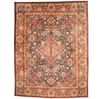 Herat Oriental Persian Hand-knotted 1960s Semi-antique Mashad Navy/ Red Wool Rug (9'7 x 12'6)