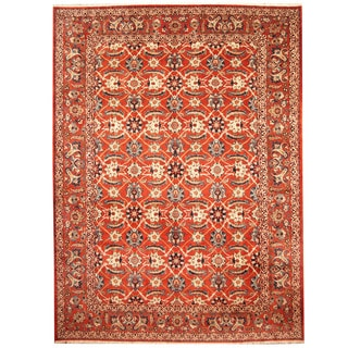 Herat Oriental Persian Hand-knotted 1960s Semi-antique Isfahan Rust/ Navy Wool Rug (10' x 13'4)