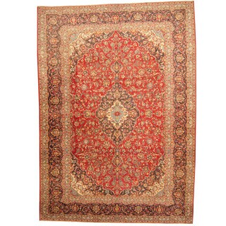 Herat Oriental Persian Hand-knotted 1960s Semi-antique Kashan Red/ Navy Wool Rug (9'7 x 13'6)