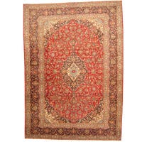 Herat Oriental Persian Hand-knotted 1960s Semi-antique Kashan Red/ Navy Wool Rug - 9'7 x 13'6