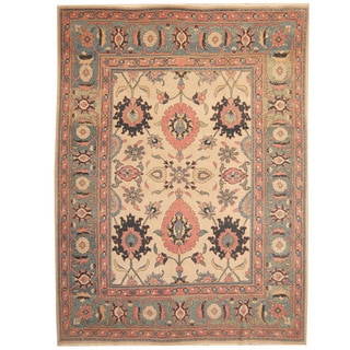 Herat Oriental Persian Hand-knotted 1960s Semi-antique Mahal Beige/ Light Green Wool Rug (9'9 x 13')