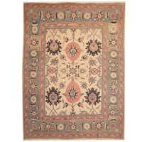 Herat Oriental Persian Hand-knotted 1960s Semi-antique Mahal Beige/ Light Green Wool Rug - 9'9 x 13'