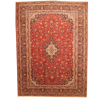 Herat Oriental Persian Hand-knotted 1960s Semi-antique Kashan Burgundy/ Navy Wool Rug (10'5 x 14')