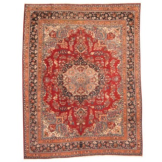 Herat Oriental Persian Hand-knotted 1970s Semi-antique Mashad Burgundy/ Navy Wool Rug (9'7 x 12'4)