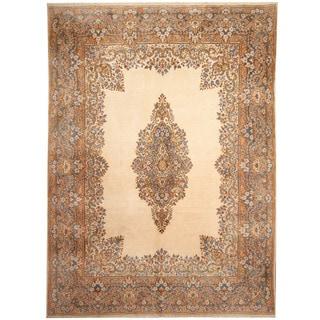 Herat Oriental Persian Hand-knotted 1970s Semi-antique Kerman Ivory/ Light Blue Wool Rug (8'10 x 12'1)