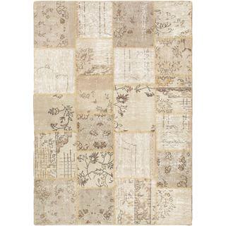 eCarpetGallery Ottoman Yama Patchwork Ivory Handmade Wool Rug (5'7 x 7'10)